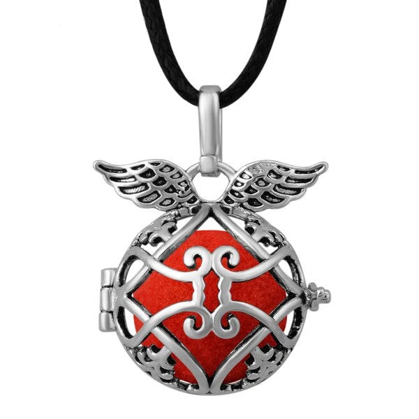 Blackened Silver Angel's Wings Aromatherapy Locket Pendant Necklace