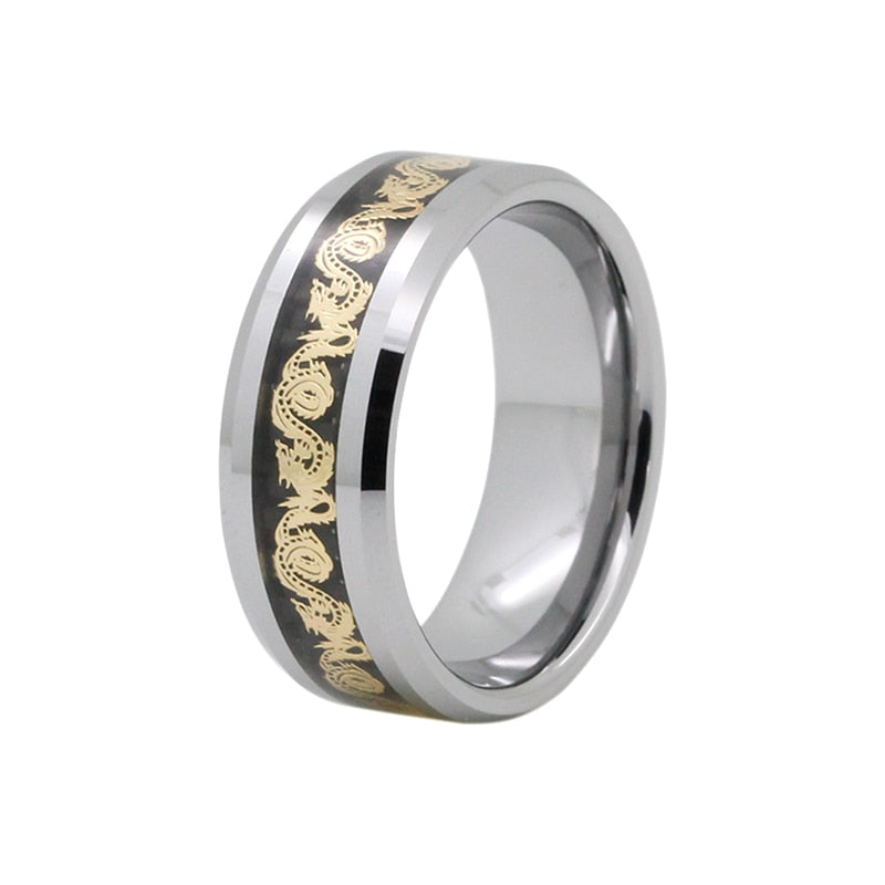 Golden Dragon Inlay over Black Carbon Fiber Tungsten Men's Wedding Band - Innovato Store