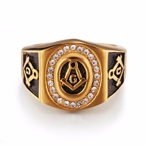 Gold Plated Stainless Steel Masonic Ring with Black Inlay for Men - Innovato Store