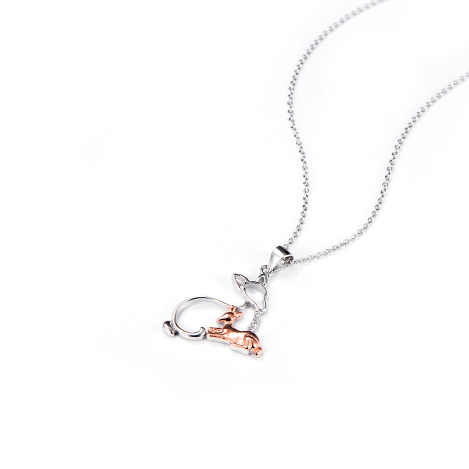 925 Sterling Silver Mother & Baby Deer Pendant Necklace