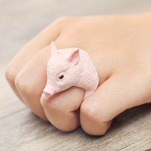 Lovely and Trendy 3D Finger Animal Figure Cute Pink Baby Pig Comfortable Ring for Women - Innovato Store