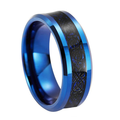 Elegant 8mm Blue Tungsten Carbide Ring with Black Dragon Inlay Pattern - Innovato Store