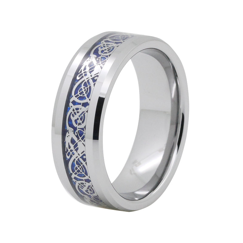 Silver-Plated Dragon Celtic Design in Blue Inlay Wedding Band