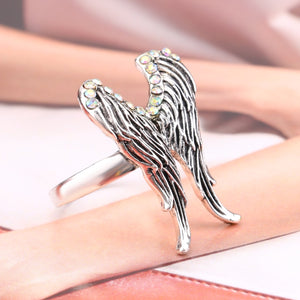 32mm Bohemian Style Silver Toned Opal Crystal Inset Women's Biker Wedding Band with an Angel Wing