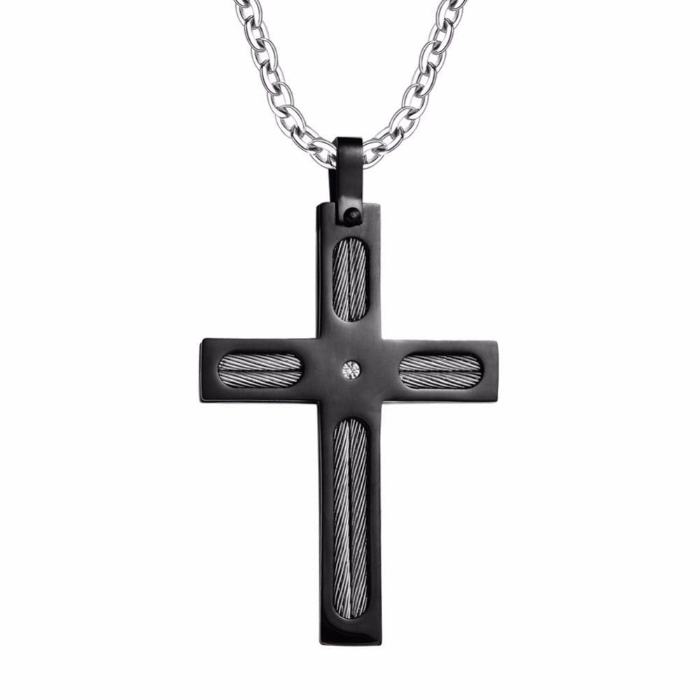 Black Plated Carbon Fiber Stainless Steel Cross Pendant Necklace