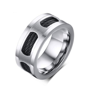 10mm Stainless Steel with Titanium Wire Insert and Brushed Matte Center Ring - Innovato Store