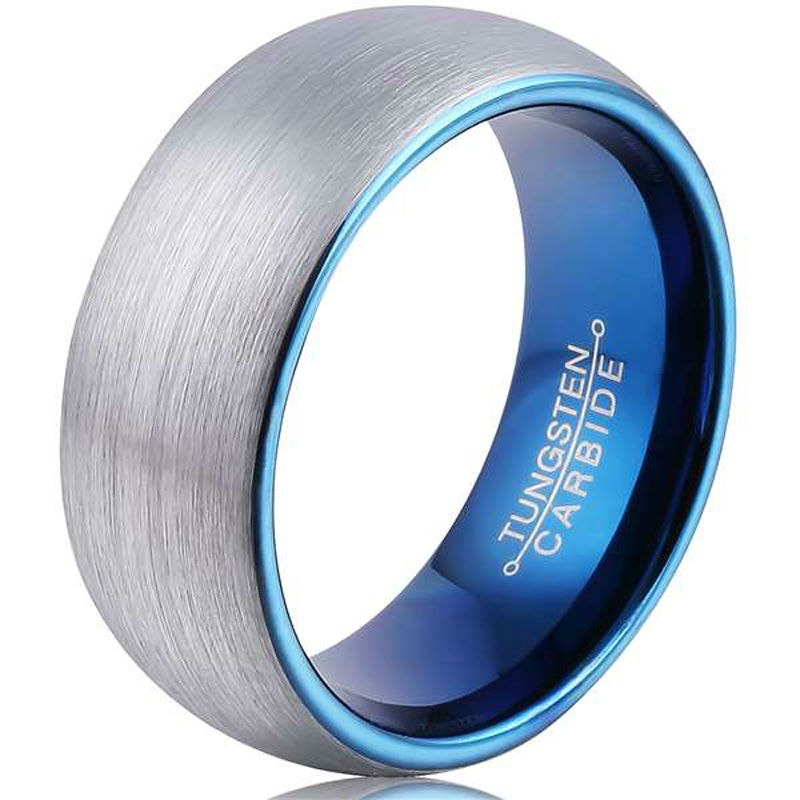 Blue Color Plated Brush Finished Tungsten Carbide 8mm Comfortable Everyday Ring for Men - Innovato Store