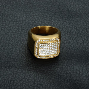 Hip Hop Micro Pave Ring with Multiple Rhinestones for Men Gold Plated - Innovato Store