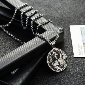 Stainless Steel Yin and Yang Dragon Pendant Necklace