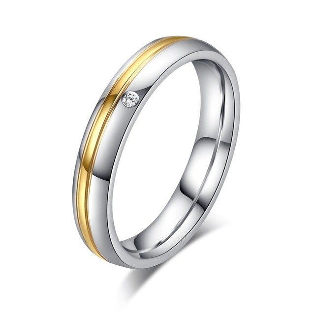 Mr. & Mrs. Stainless Steel with Gold Filled Center and CZ Crystal Couple Ring - Innovato Store