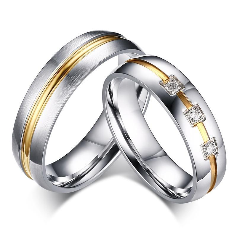 His and Hers Wedding/Engagement Stainless Steel and Gold Infill Rings - Innovato Store