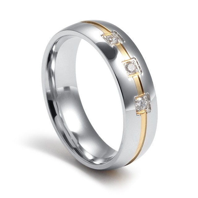 His and Hers Wedding/Engagement Stainless Steel and Gold Infill Rings