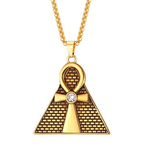 Ancient Pyramid with Ankh Cross Pendant Necklace