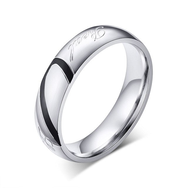 Stainless Steel Couple Wedding Ring with Different Color Half-a-Heart Shape