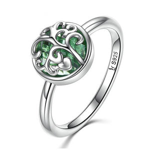 925 Sterling Silver Green Austrian Crystal Tree Of Life Ring