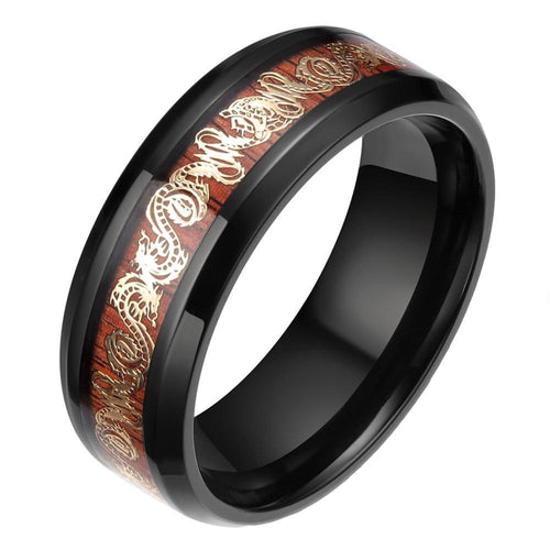 8mm Black Edge Titanium Gold Plated Dragon Design on Wood Inlay Band for Men and Women