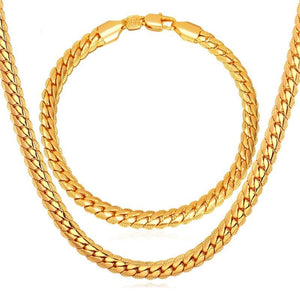 Classic Franco Snake Chain Bracelet and Necklace