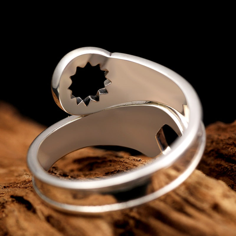 925 Sterling Silver Wrench Adjustable Ring