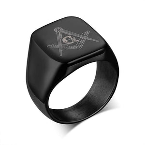 Black Cool Square Shape Top Freemason Ring - Innovato Store
