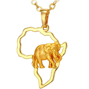 Silver Africa Map with Elephant Pendant Necklace