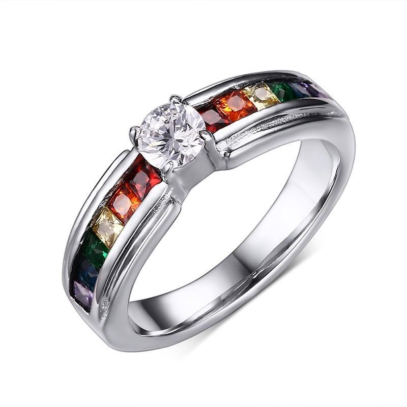 Multi-Color Cubic Zirconia Stone Insert with a Giant Crystal Stainless Steel Ring - Innovato Store