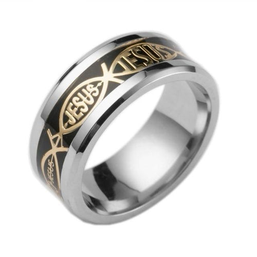 8mm Round Silver and Ebony Toned Stainless Steel Men's Christian Wedding Band