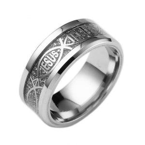 8mm Round Silver and Ebony Toned Stainless Steel Men's Christian Wedding Band - Innovato Store