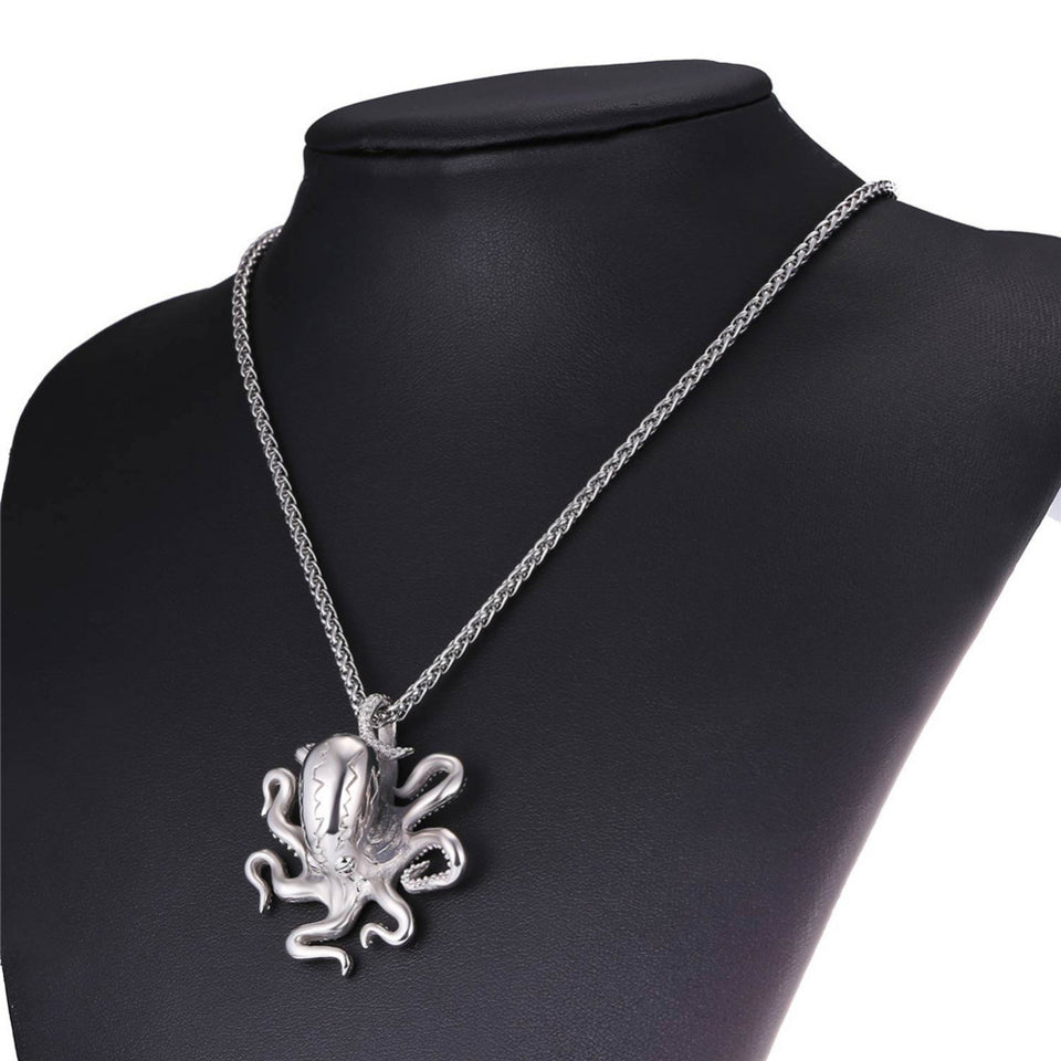 Stainless Steel Octopus Charm Necklace Pendant