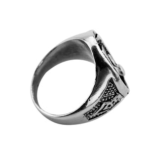 Silver Tone Stainless Steel Masonic Ring For Men with Silver Color Mason Symbol on Top