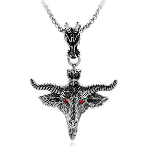 Gothic Goat Pan Skull Head Pendant Necklace