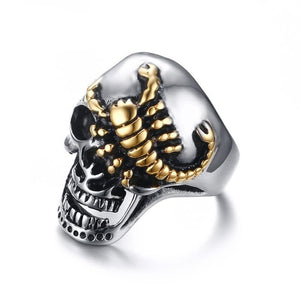 Half-Crush Skull with Gold Plated Crawling Scorpion Biker Ring
