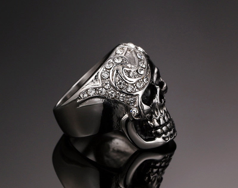 Stainless Steel Half Crushed Skull with White CZ Stone Ring