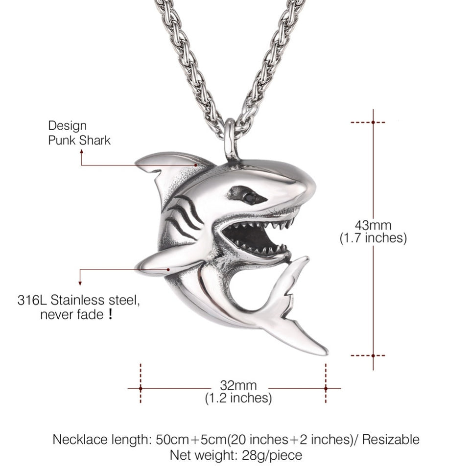 Stainless Steel Big Shark Pendant Necklace for Men