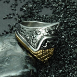 27mm Silver Accent Stainless Steel and Titanium Black and Gold Toned Mask Skull Men's Wedding Band - Innovato Store