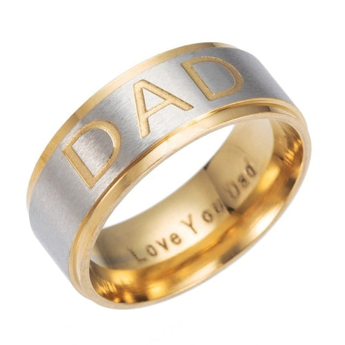 Gold Plated Stainless Steel with Silver Brushed Matte Surface Stepped Dad Ring