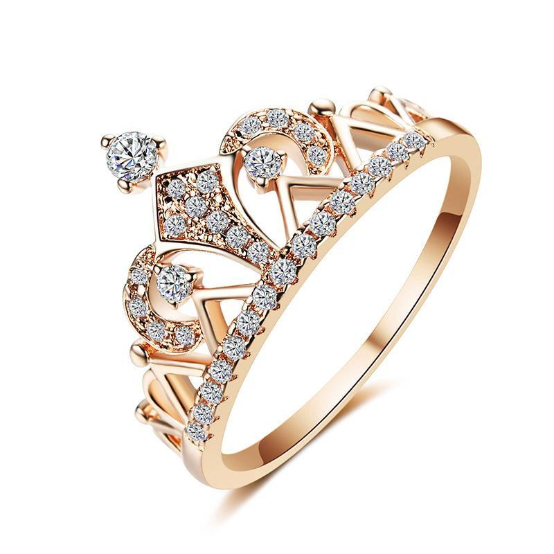 Rose Gold Plated Copper with Cubic Zirconia Crystal Inset Women's Crown Wedding Band