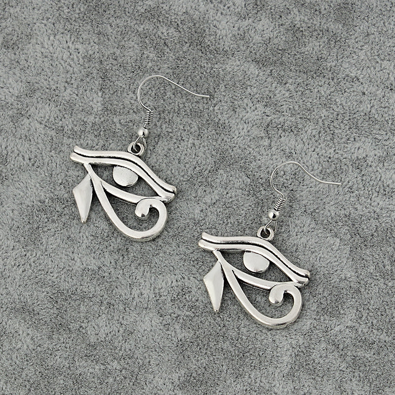 Silver Toned Eye of Horus Charm Earring