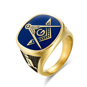 Blue, Black and Gold Plated Stainless Steel Masonic Ring for Men