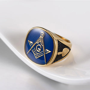 Blue, Black and Gold Plated Stainless Steel Masonic Ring for Men - Innovato Store