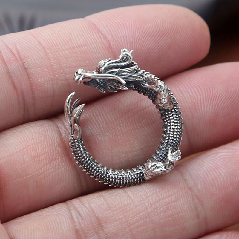 Silver Dragon 925 Sterling Silver Ring for Men