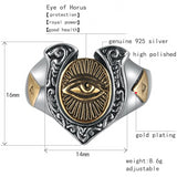 925 Sterling Silver and Gold Eye of Horus Adjustable Ring