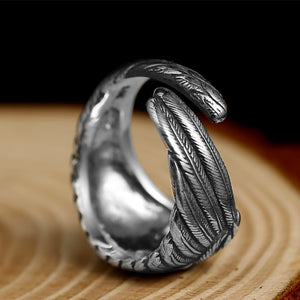 925 Sterling Silver Adjustable Eagle Wing Feather Ring for Men