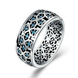 925 Sterling Silver Connected Lucky Clover with Blue Zirconia Ring