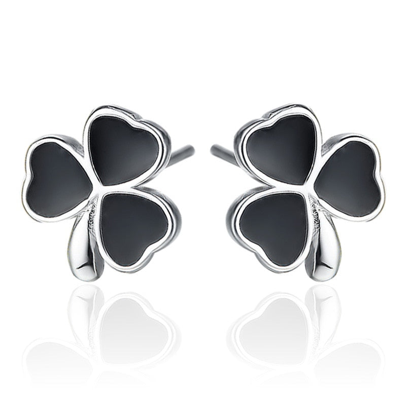 Black and Silver Lucky Clover Stud Earrings