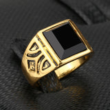 Vintage Gold Plated Ring with Black Stone for Men