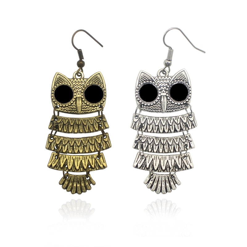 Antique Bronze & Silver Bohemian Owl Stud Earrings Women's Jewelry