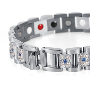 Rhinestone Bracelet for Women with Silver Plated Links