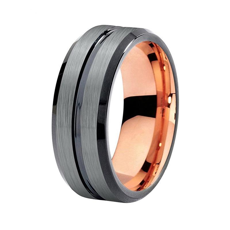 Black Brushed Matte Tungsten Carbide with Rose Coated Inner Wedding Band - Innovato Store