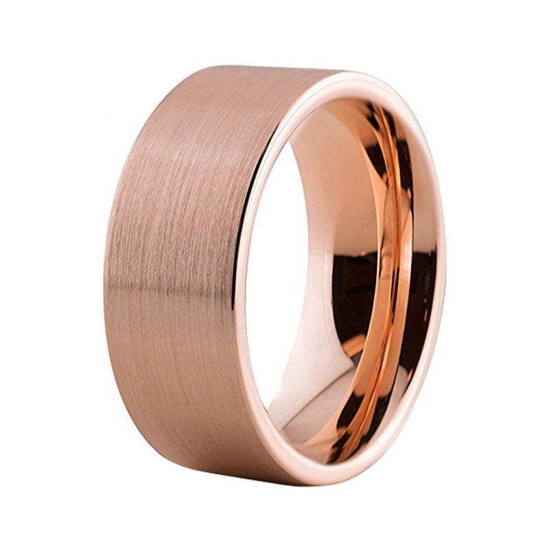 8mm Brushed Matte Rose Gold Plated Tungsten Carbide Wedding Ring - Innovato Store