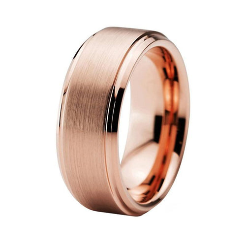 Rose Gold Plated Tungsten Carbide with Matte Finish Wedding Ring